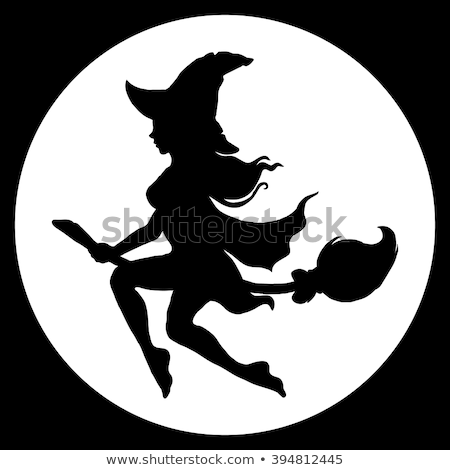 Black silhouette of witch flying on broom against full moon Stock photo © orensila