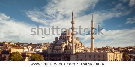 Gyönyörű kilátás kék mecset park emberek Stock fotó © artjazz