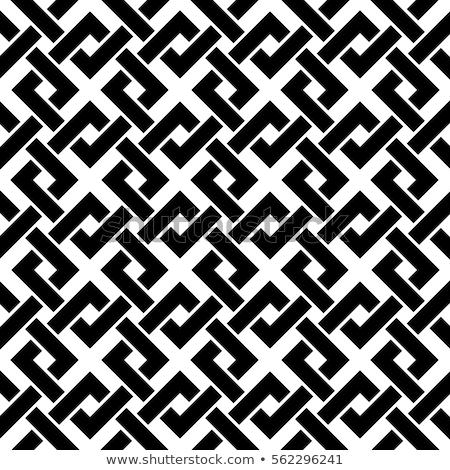 Weave Seamless Pattern. Stylish Repeating Texture. Black and White Geometric Vector Illustration. Stock photo © Samolevsky