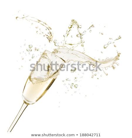 dwa · okulary · szampana · jeden · czerwony · złoty - zdjęcia stock © neirfy
