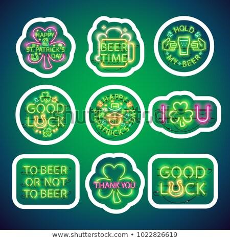 groene · bier · icon · stijl · St · Patrick's · Day · symbool - stockfoto © voysla