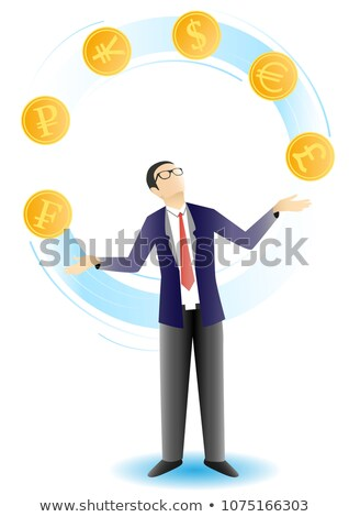 Homem de negócios malabarismo euros dinheiro empresário financiar Foto stock © IS2