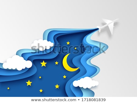 Airplane flying in sky at night time Stock photo © bluering