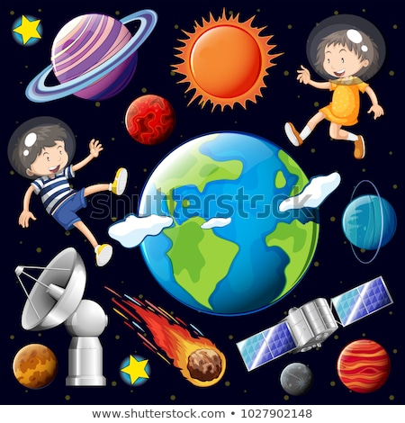 Boy and girl flying in space with many planets Stock photo © bluering