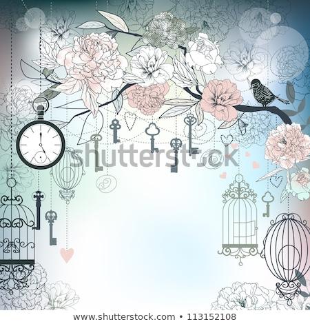 Floral gaiola decorativo enforcamento dourado gaiola Foto stock © kostins