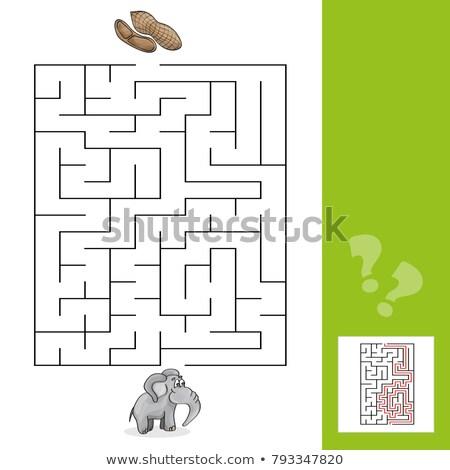 olifant · puzzel · kinderen · spel · cartoon · illustratie - stockfoto © natali_brill