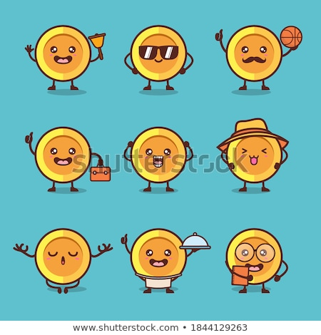 Bitcoin emoji, crypto currency character set with different emotions, vector illustration Stock photo © ikopylov