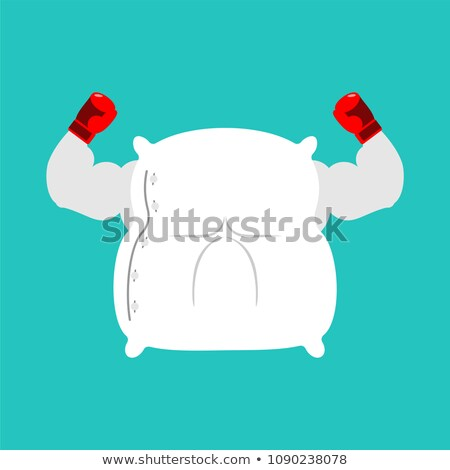strong pillow fight big bed linen vector illustration stock photo © maryvalery