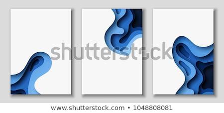 Kék absztrakt elrendezés vektor papír vág Stock fotó © Decorwithme