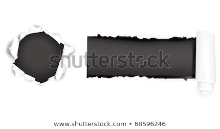 the sheet black of torn paper against the white background Stock photo © inxti