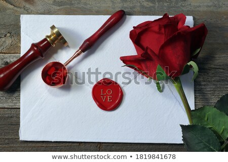 Envelope sealed with heart with roses flowers Stock photo © ESSL