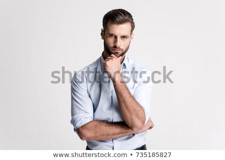 nyugodt · elegáns · férfi · áll · fehér · kezek - stock fotó © feedough