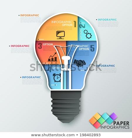 żarówka ikona materiały biurowe wiele sztuk Zdjęcia stock © unikpix