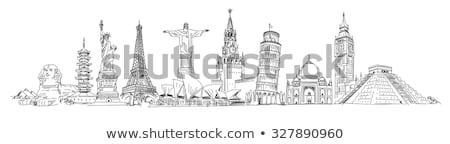 Maya Pyramid and Pisa Tower Vector Illustration Stock photo © robuart