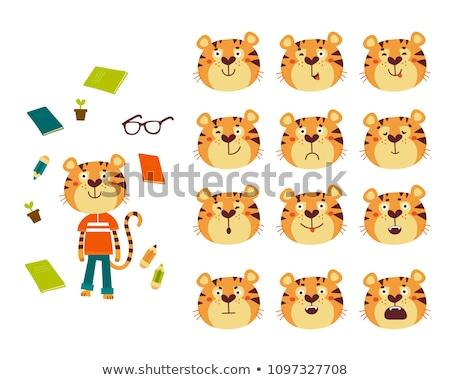 Triest cartoon tijger illustratie naar kat Stockfoto © cthoman