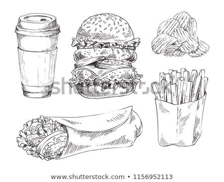 fast-food · conjunto · vetor · monocromático · esboço - foto stock © robuart