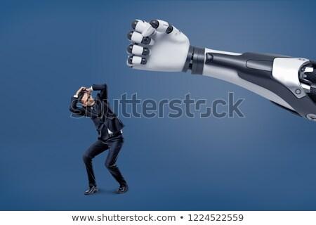 Bać mężczyzna robot cartoon ilustracja niebieski Zdjęcia stock © cthoman