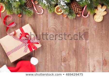 christmas fir tree with pinecones and decorative boxes stock photo © marylooo