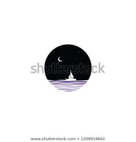 éjfél jelenet vitorla csónak felirat szimbólum Stock fotó © vector1st