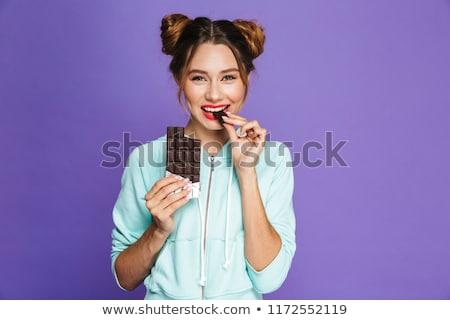 女性 孤立した バイオレット チョコレート 画像 ストックフォト © deandrobot