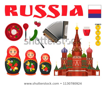 Russia Traditional Food and Entertainment Icon Set Stock photo © robuart