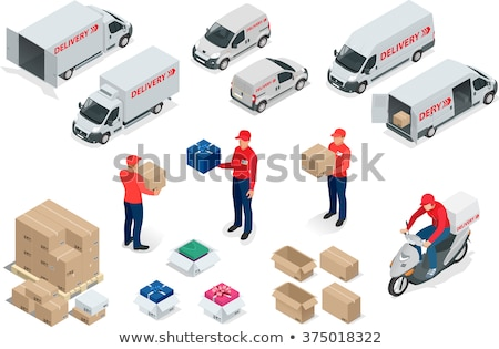 isometric flat vector concept of delivery by scooter courier service stock photo © tarikvision