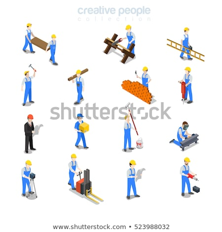 Isometric flat vector concept of website builder, site constructor. Stock photo © TarikVision