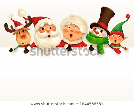 Christmas Santa Claus and Reindeer Cartoon Sign Stock photo © Krisdog