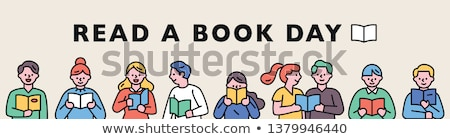Cartoon man reading many books Stock photo © jossdiim
