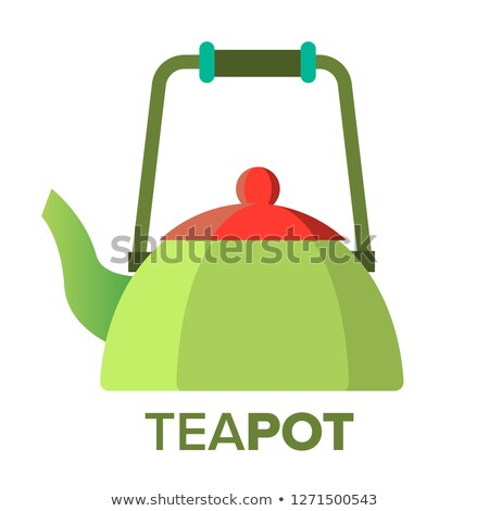 Teapot, Kettle Vector. Tea Ceremony Party Symbol. Metal Or Ceramic. Isolated Flat Cartoon Illustrati Stock photo © pikepicture