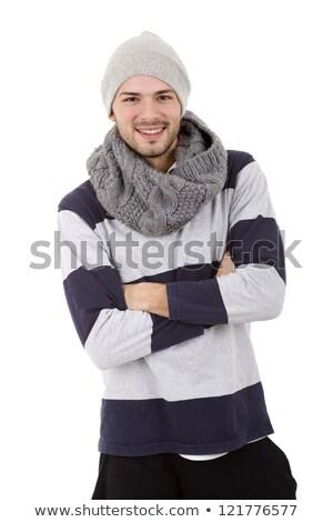 Retrato excitado joven suéter pie aislado Foto stock © deandrobot