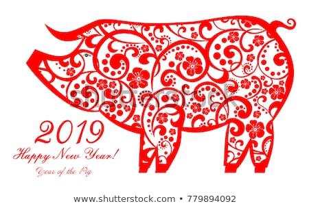 Capodanno cinese biglietto d'auguri stilizzato suino traduzione cinese Foto d'archivio © SelenaMay