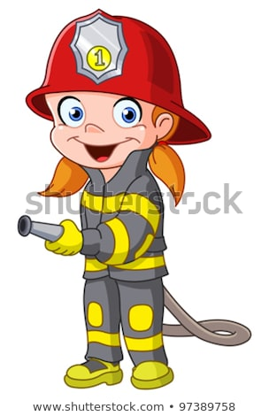 Stock photo: Cartoon Smiling Firefighter Woman