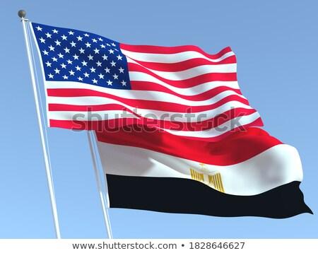 Two waving flags of United States and egypt Stock photo © MikhailMishchenko