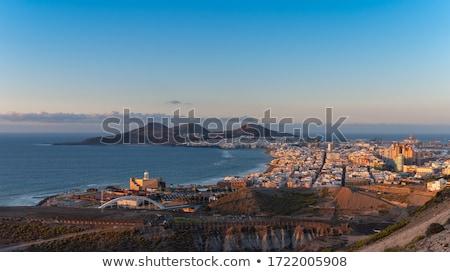 panorama · nascer · do · sol · canárias · casa · cidade - foto stock © benkrut