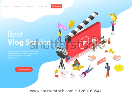 flat isometric vector landing page template of video blog vlog online channel stock photo © tarikvision