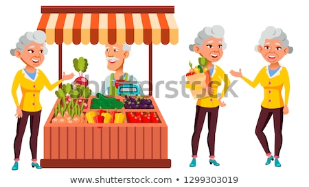 Asian Old Woman Poses Set Vector. Elderly People. Ecological Vegetables, Market. Senior Person. Aged Stock photo © pikepicture