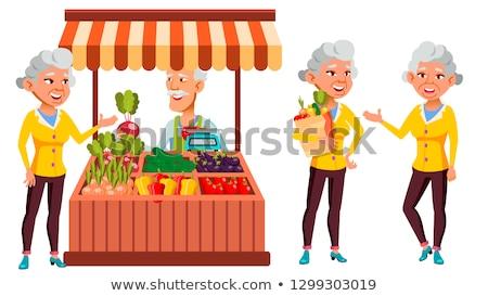 asian · oude · vrouw · ingesteld · vector · ouderen · mensen - stockfoto © pikepicture