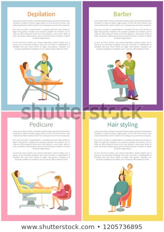 Depilation and Barber Care Posters Text Set Vector Stock photo © robuart