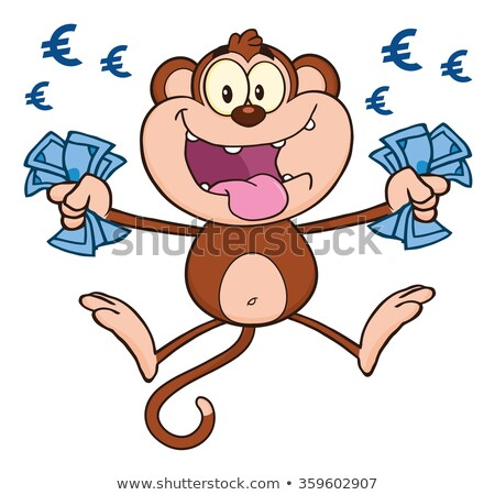 Funny  Monkey Cartoon Character Jumping With Cash Money and Euro Eyes Stock photo © hittoon