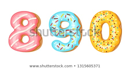 Donut icing numbers digits - 8, 9, 0. Font of donuts. Bakery sweet alphabet. Donut alphabet latters  Stock photo © MarySan