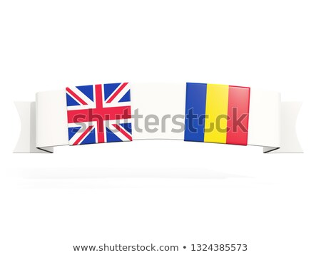 Banner with two square flags of United Kingdom and romania Stock photo © MikhailMishchenko