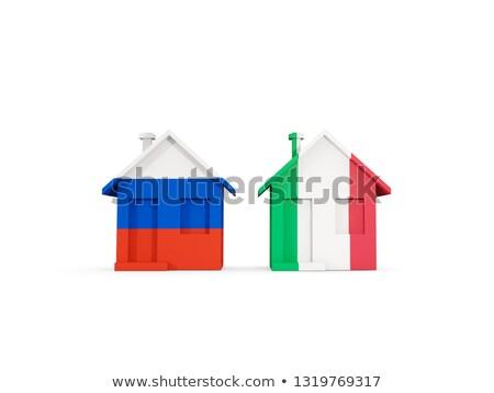 два домах флагами Россия Италия изолированный Сток-фото © MikhailMishchenko