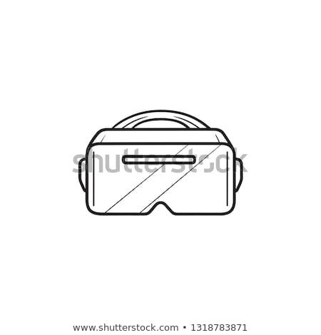 Védőszemüveg kézzel rajzolt skicc firka ikon virtuális Stock fotó © RAStudio