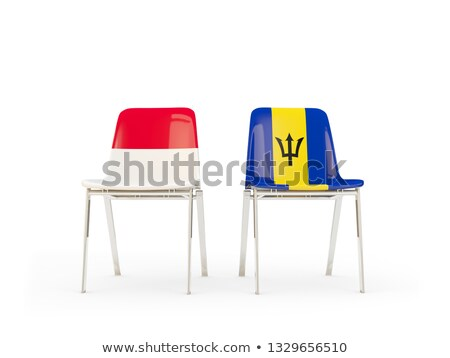 two chairs with flags of indonesia and barbados stock photo © mikhailmishchenko