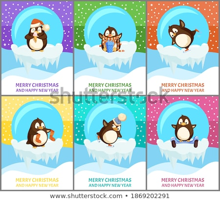 merry christmas snow snowfall weather penguins set stock photo © robuart