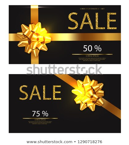 discount voucher vector realistic golden glitter card with red bow detailed 3d illustrations stock photo © frimufilms