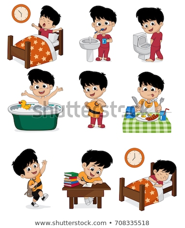 children waking up vector cartoon characters set stock photo © pikepicture
