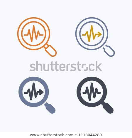 Heartbeat in magnifying glass icon. Cardiology symbol. Medical pressure sign. Vector. Stock photo © kyryloff