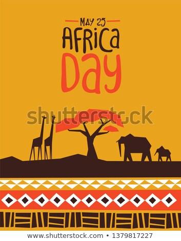 africa day card with wild safari animals stock photo © cienpies